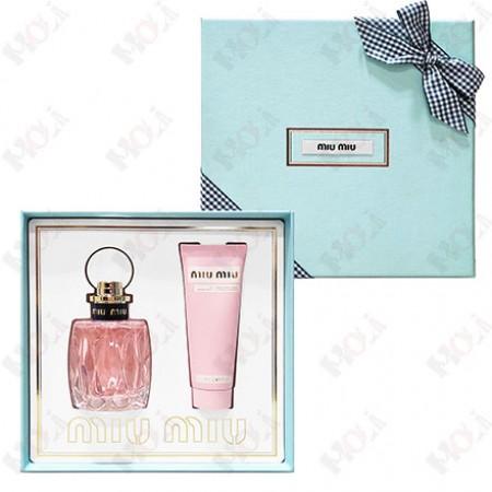 3006-177 Miu Miu  L'eau Rosee 粉色嬉遊格紋緞帶香氛禮盒 (淡香水100ml+護手霜75ml)
