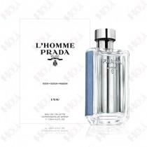 317-595【TESTER包裝】L'Homme Prada 蔚藍紳士男性淡香水 100ml ~環保式外盒、有蓋子
